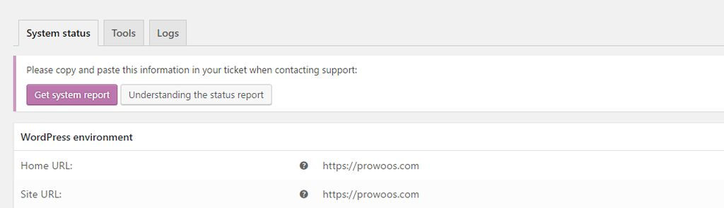WooCommerce System Status Report