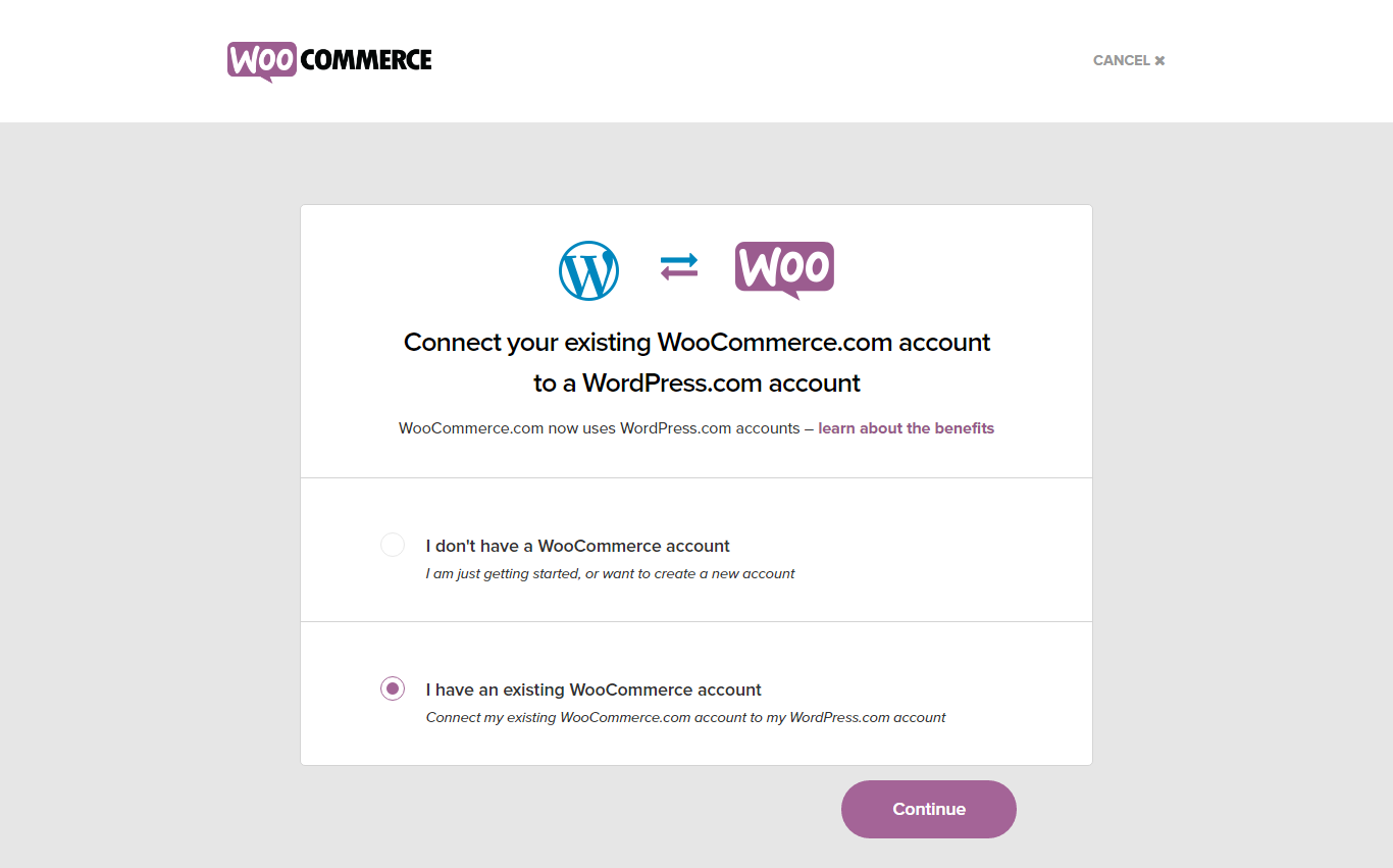 screencapture of woocommerce login page using WordPress account